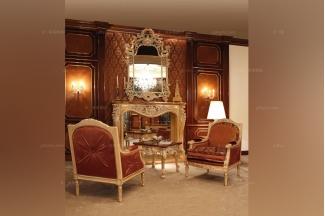 Minotti Luigi&Benigno欧式实木雕花型布艺休闲椅