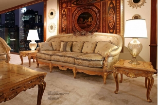 Minotti Luigi&Benigno欧式实木雕花型布艺三位沙发