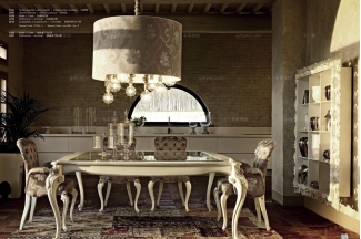 Volpi意大利进口别墅会所玻璃雕花长餐台
