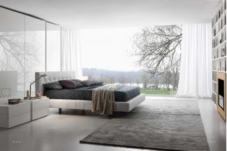 Presotto后现代白色布艺床