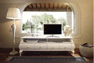 Volpi意大利进口高端时尚法式白色电视柜