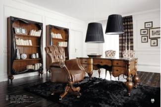 Volpi意大利进口法式高端品牌别墅会所深色书房组合
