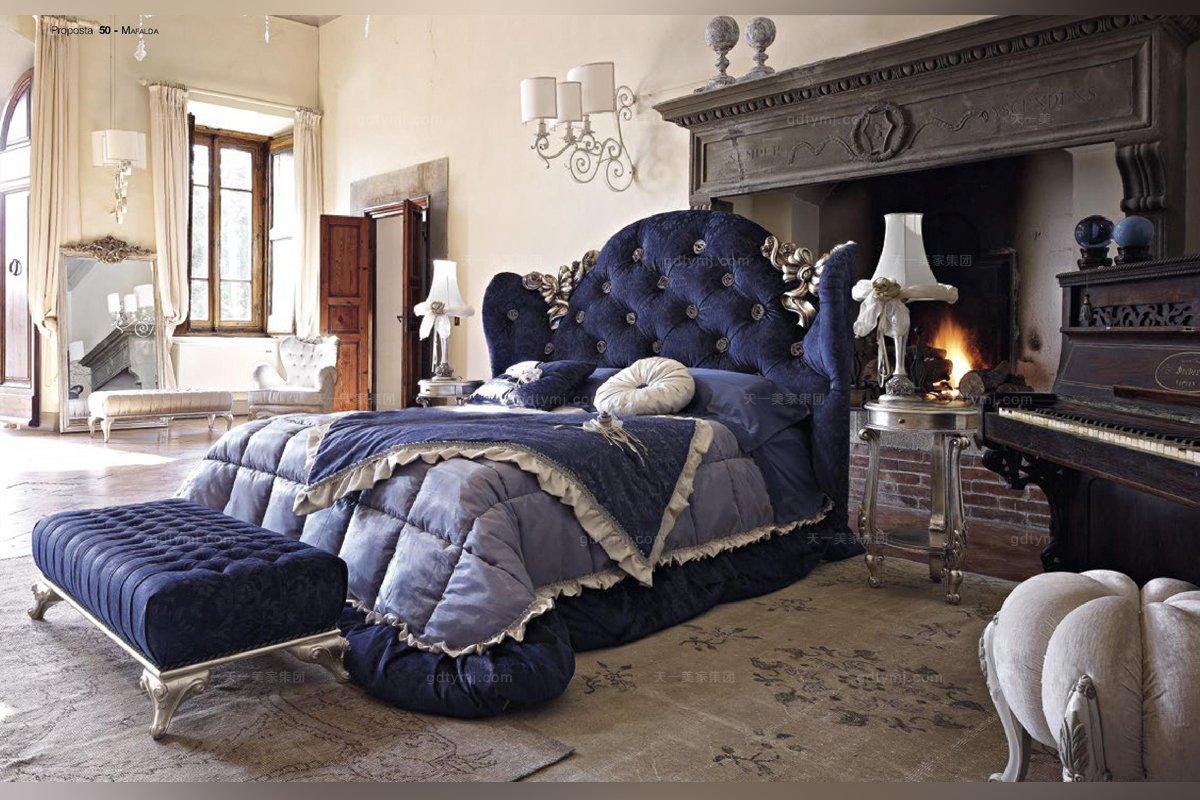 Volpi意大利进口高端时尚法式别墅会所软包双人床