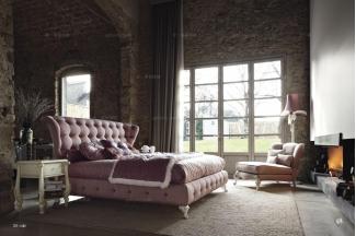 Volpi意大利进口高端时尚法式粉红双人床