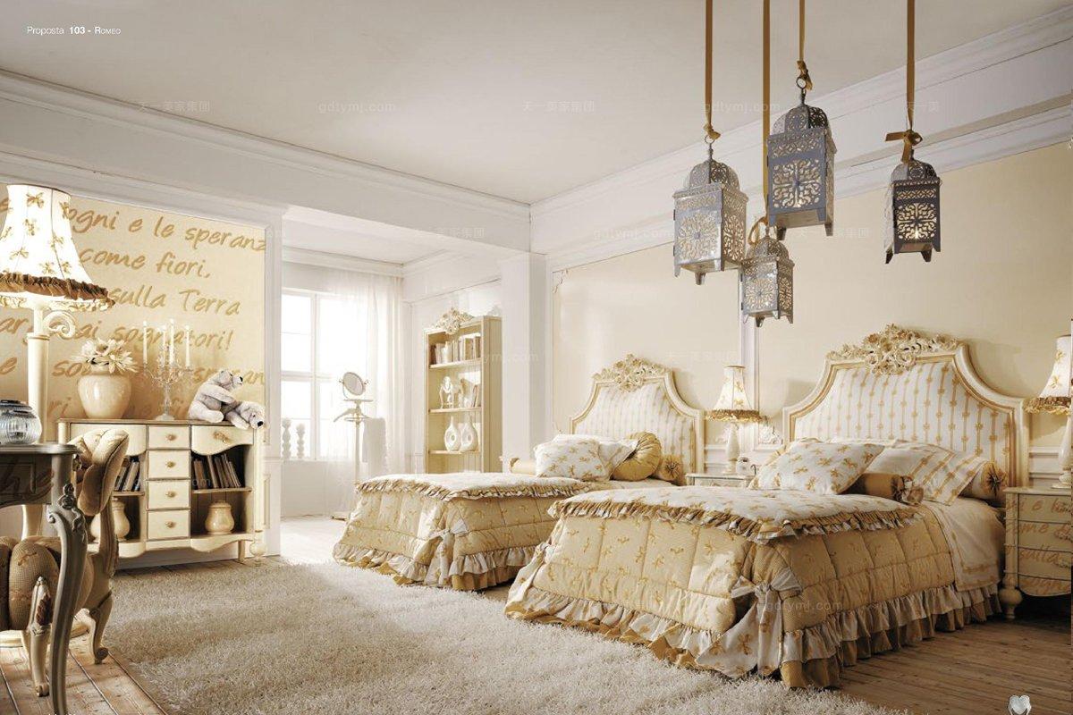 Volpi意大利进口法式金泊雕刻别墅会所儿童床