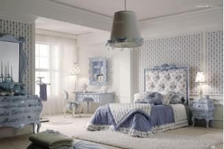 北京高端别墅家具Volpi 意大利进口高端时尚法式浅蓝色雕花双人床