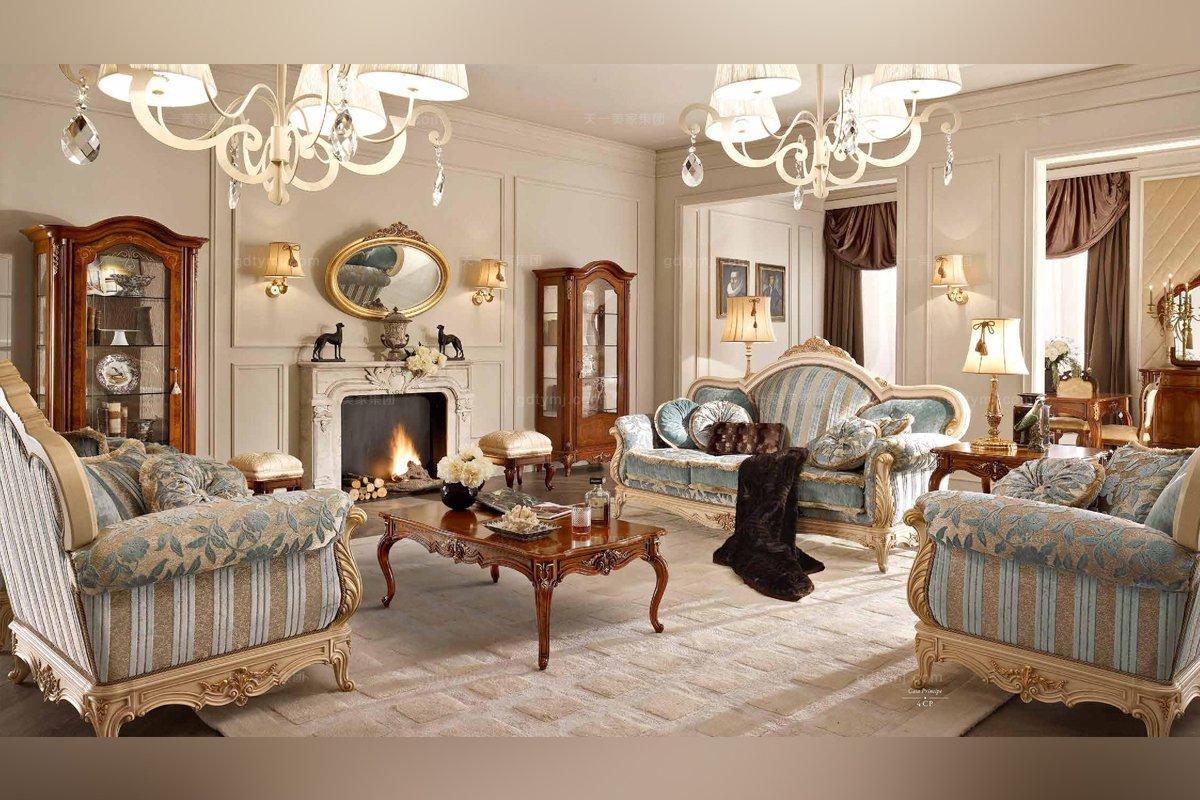 法式高端品牌雕刻蓝色沙发
