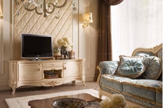 Valderamobili 意大利进口法式高端品牌雕刻浅色电视柜