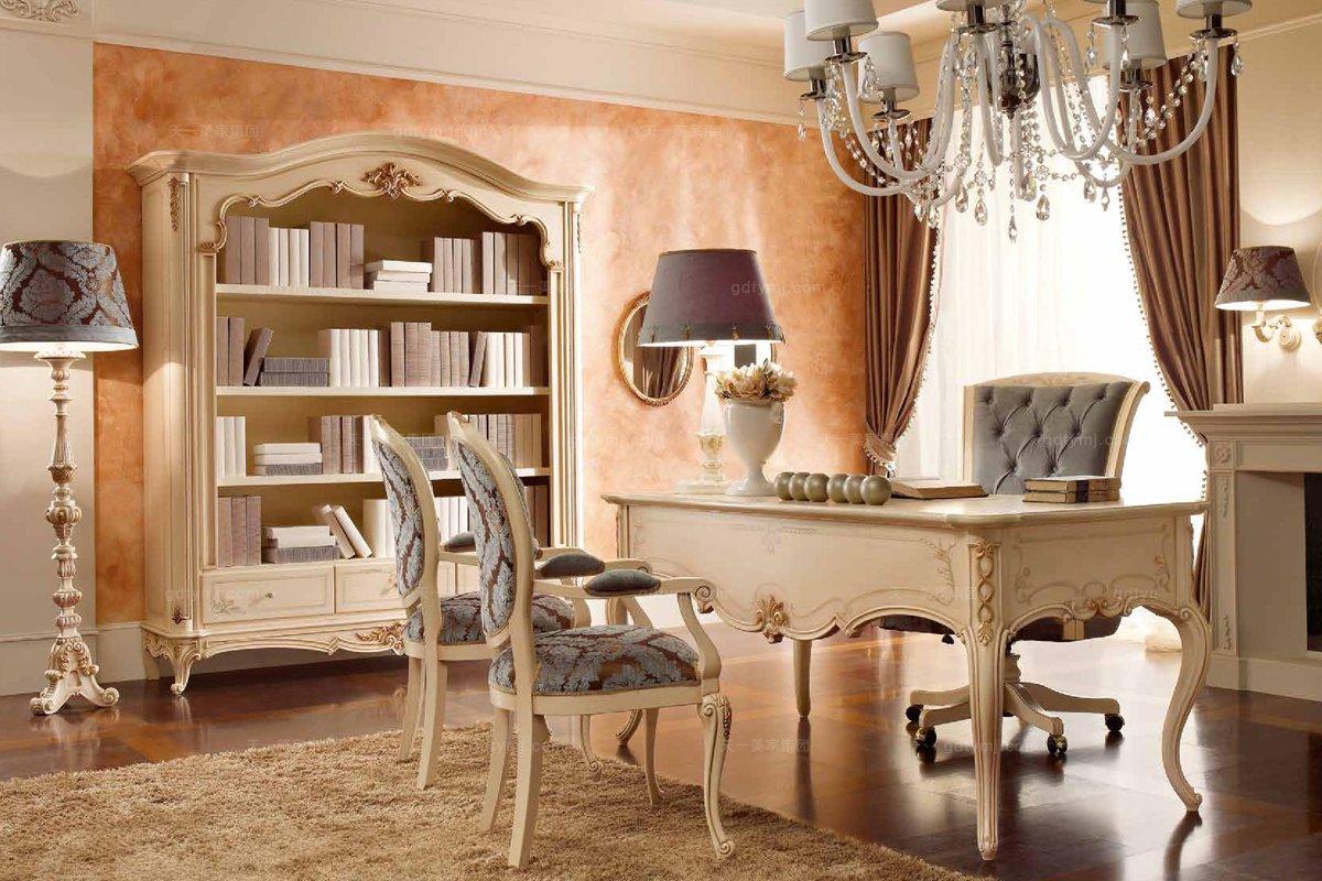 Valderamobili意大利进口高端时尚法式浅色书桌+书椅
