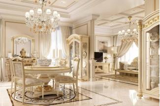 Valderamobili意大利进口高端时尚法式圆餐桌+餐椅
