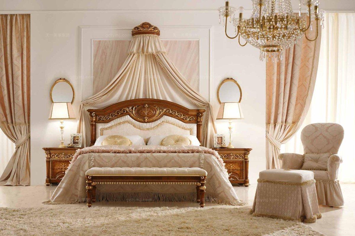 Valderamobili意大利进口法式白色软包雕刻双人床