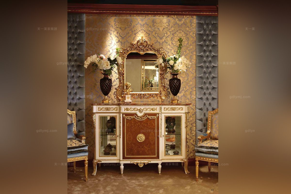 Minotti Luigi&Benigno欧式实木雕花木皮拼花装饰柜+镜