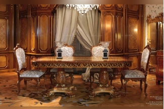 Minotti Luigi&Benigno欧式实木雕花木皮拼花餐厅系列