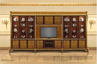 Minotti Luigi&Benigno欧式实木雕花木皮拼花装饰电视柜