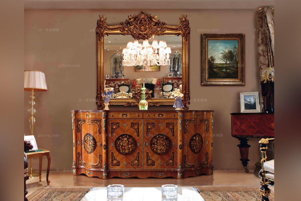 Minotti Luigi&Benigno欧式实木雕花木皮拼花装饰柜
