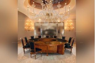 Minotti Luigi&Benigno欧式实木木皮拼花圆餐桌餐厅系列