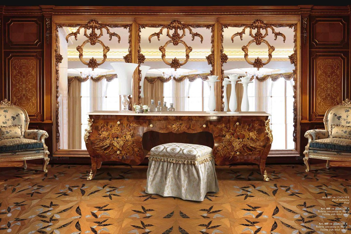 五星级酒店家具品牌Minotti Luigi&Benigno欧式雕花木皮拼花妆台系列