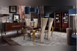 Valderamobili意大利法式别墅会所长餐台+餐椅