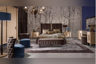 Valderamobili意大利法式会所家具用品咖色双人床