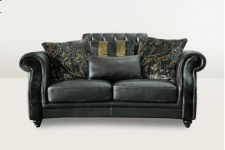 高端品牌别墅会所深色真皮二位沙发
