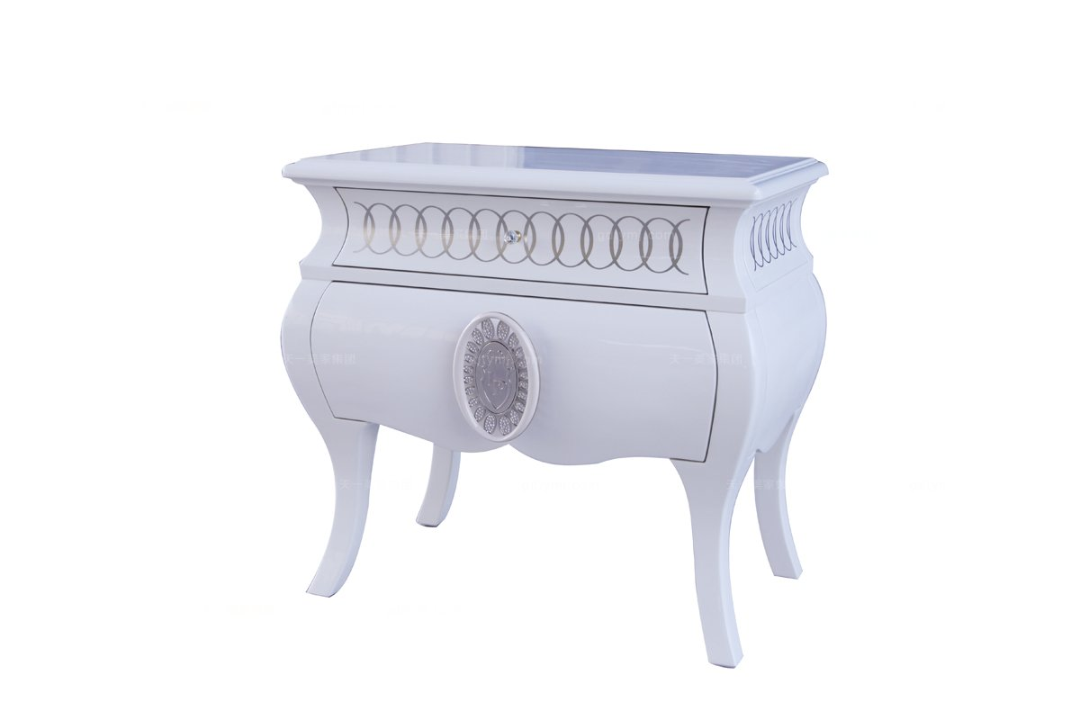 高端时尚简约白色床头柜