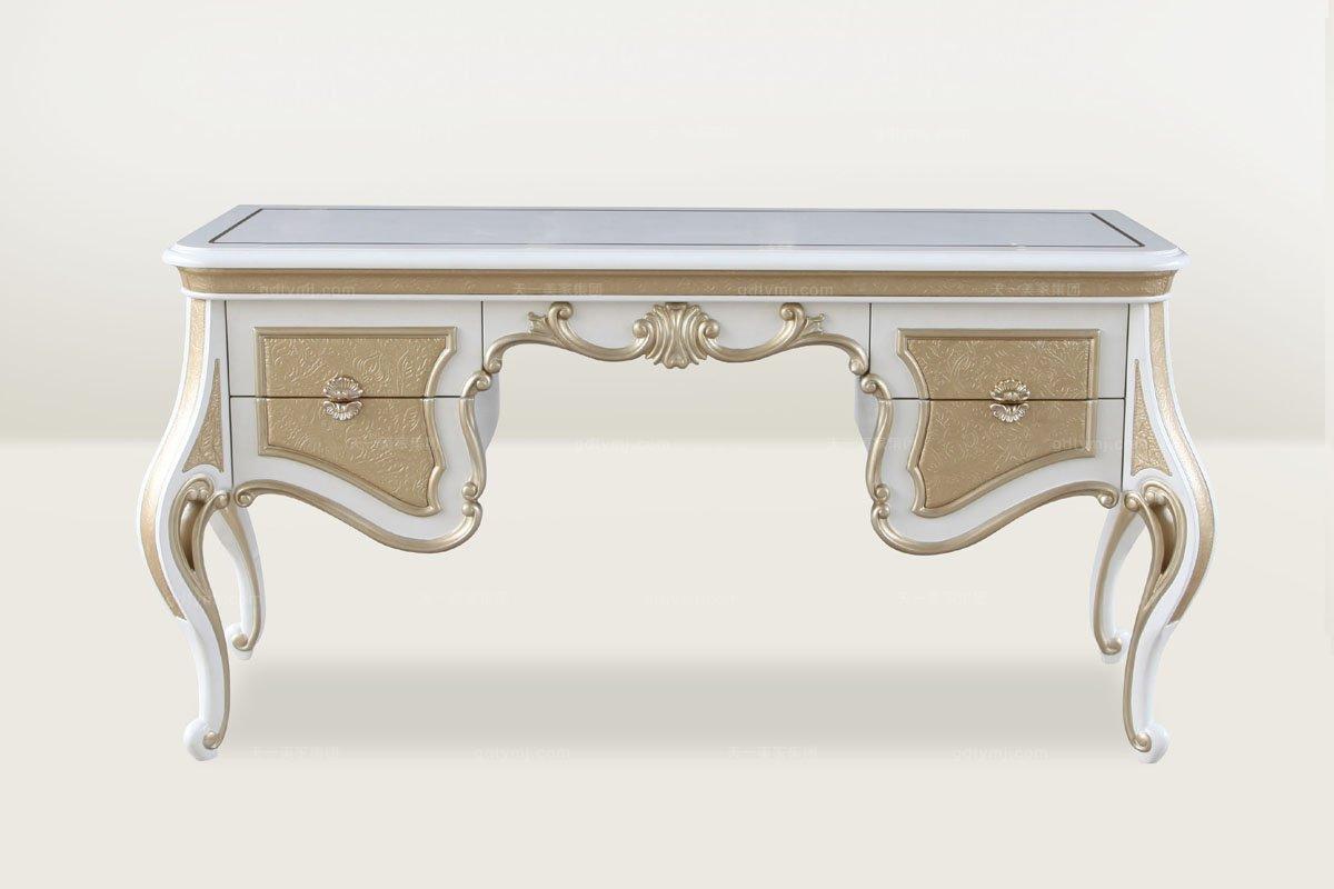 高端时尚简欧风格雕花浅色书桌