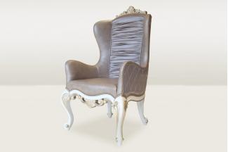 高端品牌简欧雕刻真皮休闲椅