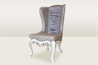 高端时尚简欧雕花真皮休闲椅