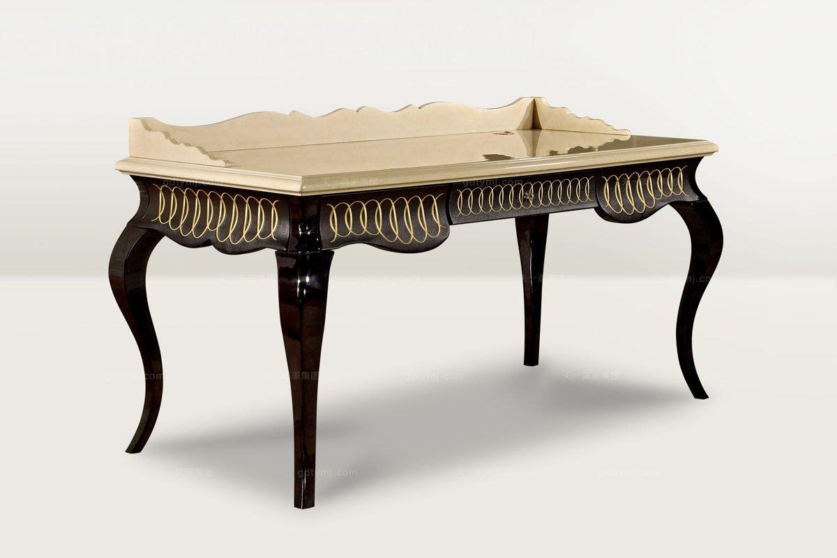 高端时尚简欧雕刻亮光书桌