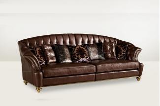 高端品牌简欧别墅会所咖啡色三人沙发