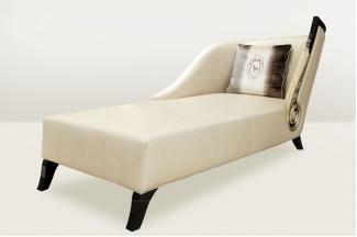 高端品牌简欧米黄色真皮贵妃躺椅