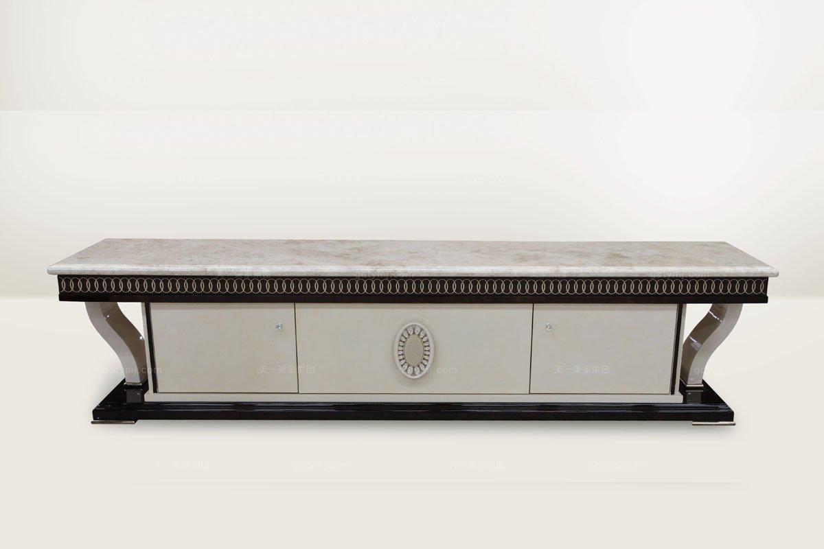 高端品牌简欧雕刻别墅会所大理石面电视柜