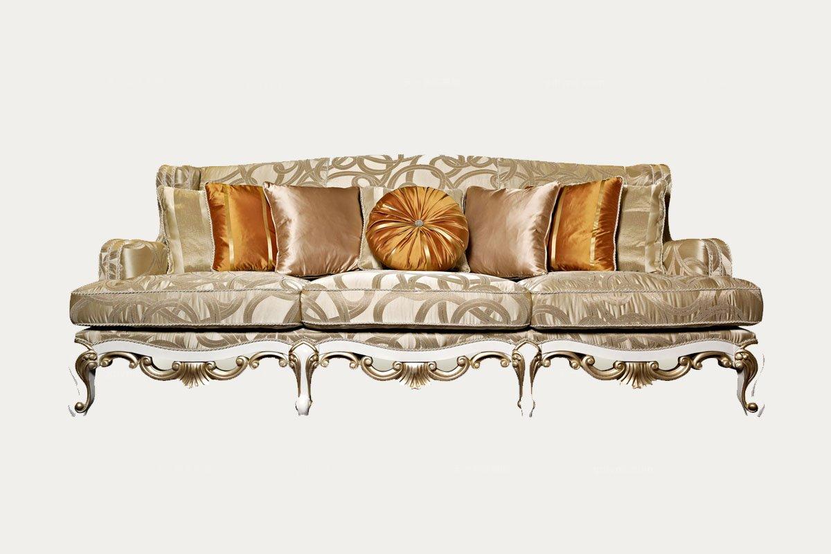 高端品牌简欧雕刻进品布艺三人沙发