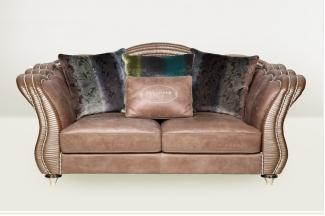 高端品牌简欧咖啡色真皮二位沙发