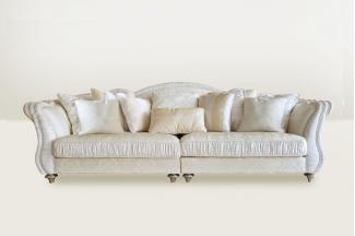 高端时尚简欧白色进口布艺三位沙发