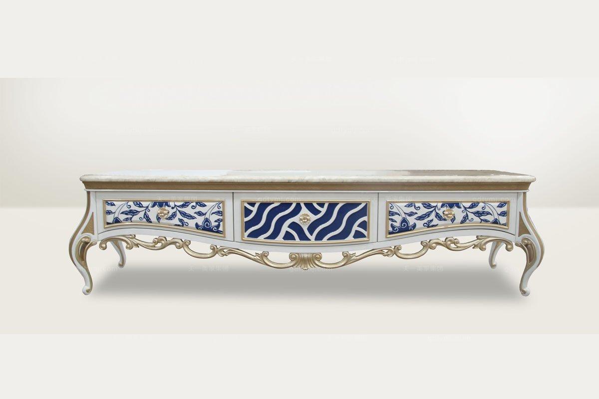 高端品牌简欧雕刻青花瓷大理石面电视柜
