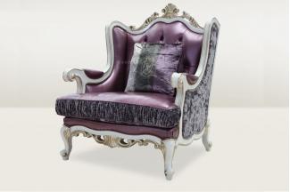高端品牌简欧雕刻紫色真皮单人沙发