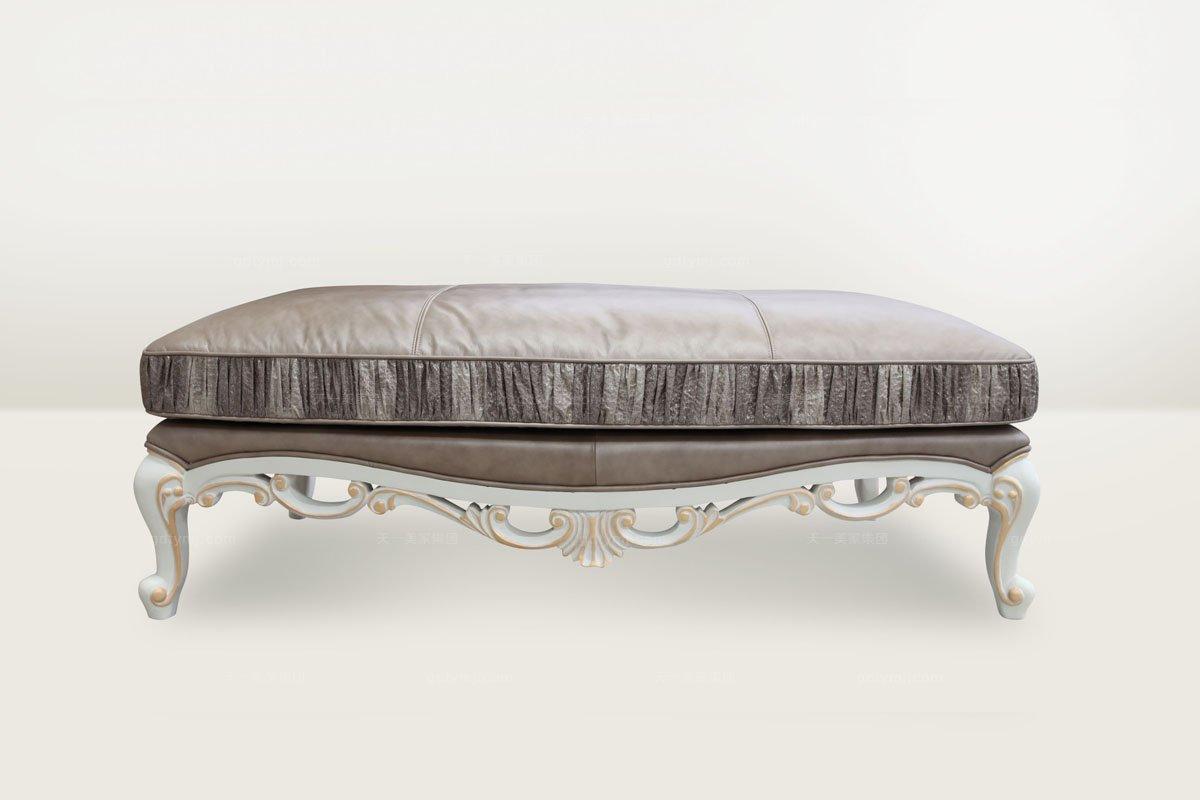 高端品牌简欧雕刻咖啡色真皮长尾凳