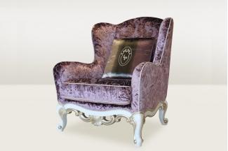高端时尚简欧紫色进口绒布休闲沙发