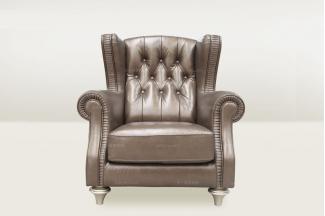 高端品牌简欧88bf必发娱乐会所咖啡色单人沙发