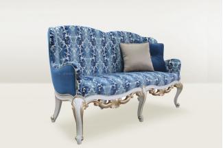 高端品牌简欧雕刻青花瓷色二位沙发