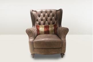 高端品牌简欧咖啡色单人沙发