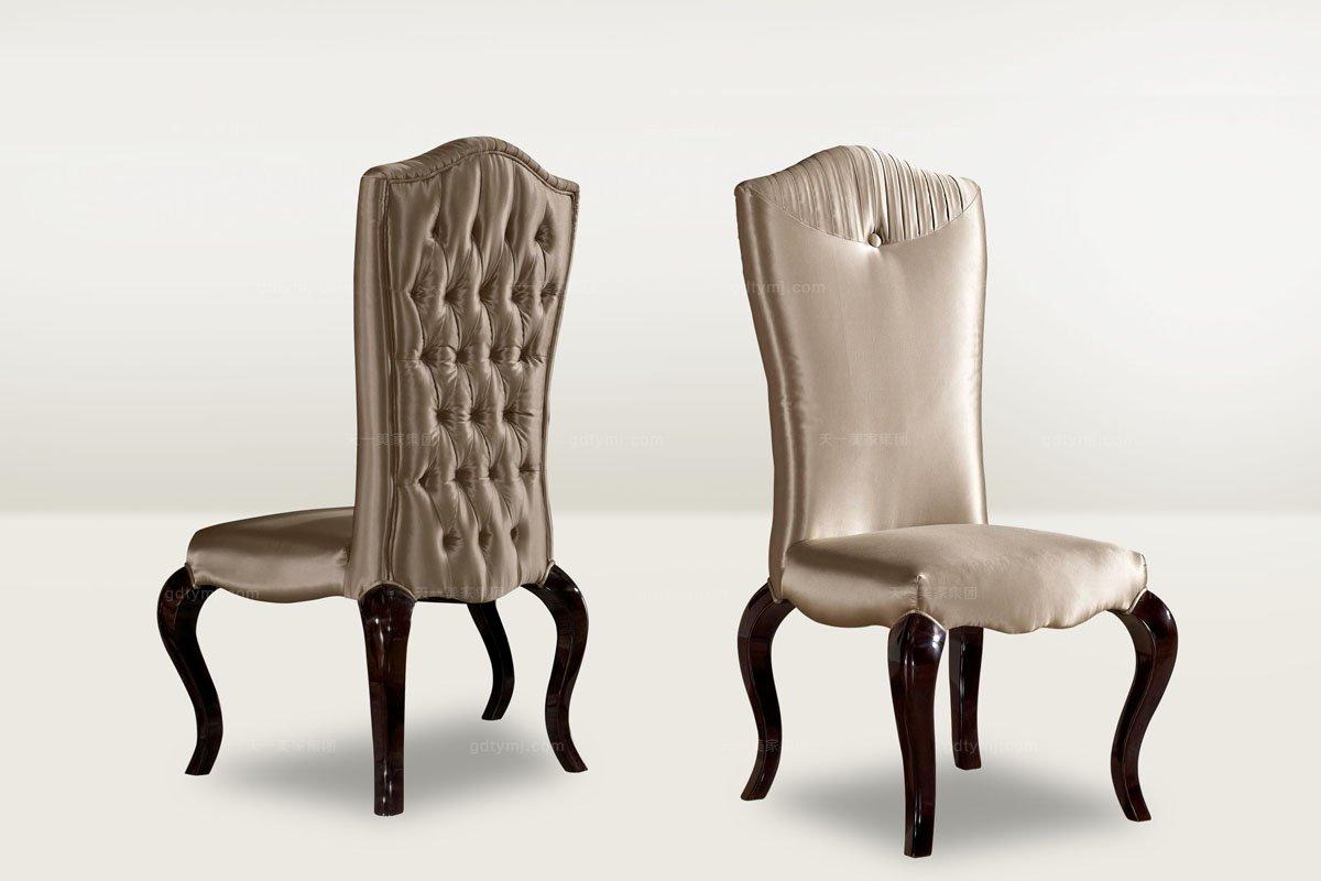 高端品牌简欧布艺无扶手餐椅