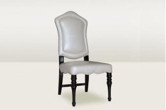 高端时尚简欧米色真皮餐椅
