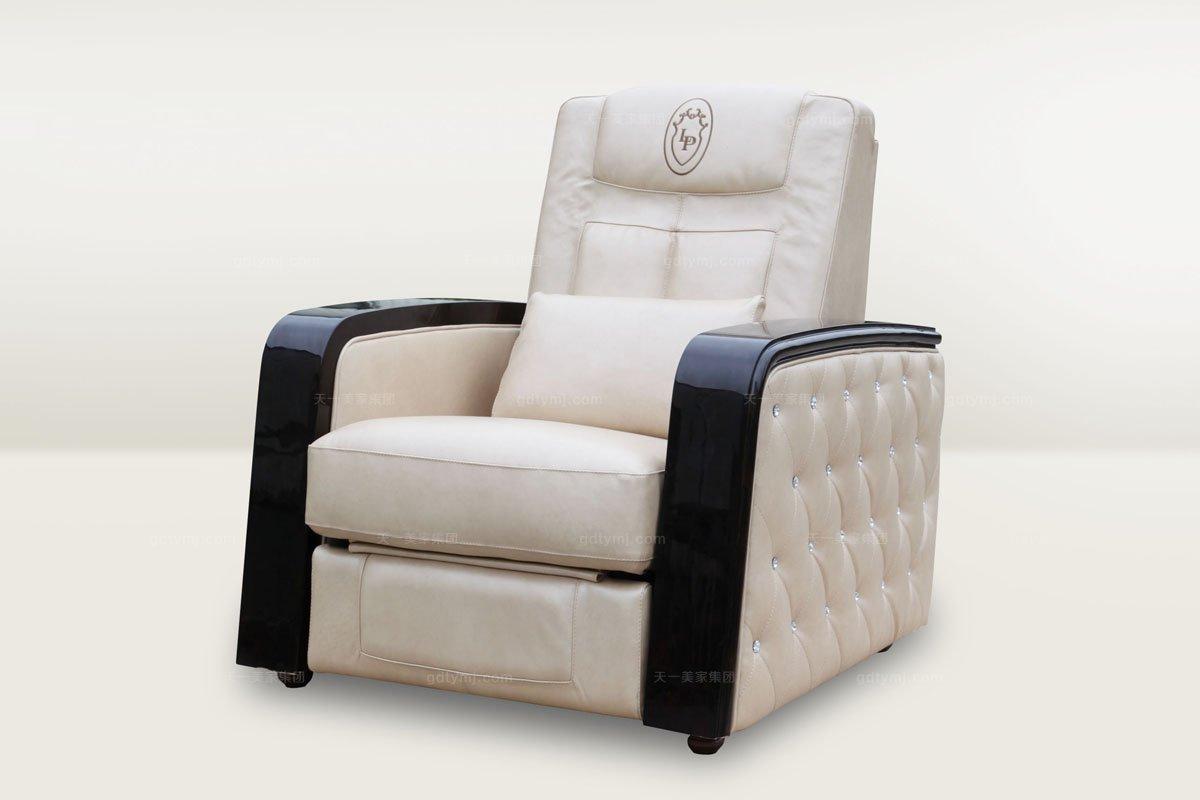 高档时尚简欧米色真皮单人沙发