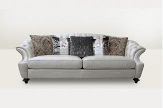 高端时尚简欧大气米色真皮三位沙发