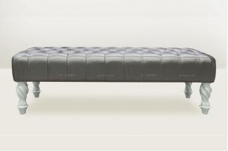 高端品牌板式简欧深色床尾凳