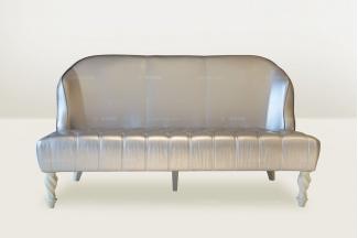 高端时尚简欧米色真皮二位沙发
