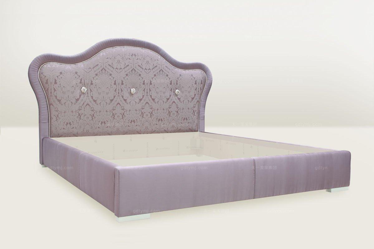 高端时尚简欧粉紫色双人床