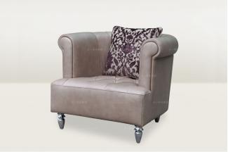 高端品牌简欧真皮单人沙发